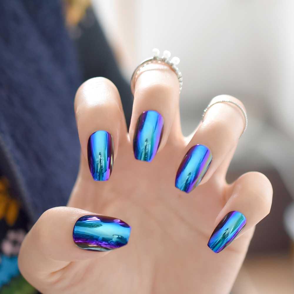 Ballerina Ataúd Uñas Puntas Efecto Espejo Reflejo Cromado Uñas Falsas Efecto Espejo Mágico Holo Azul Púrpura Uñas Postizas