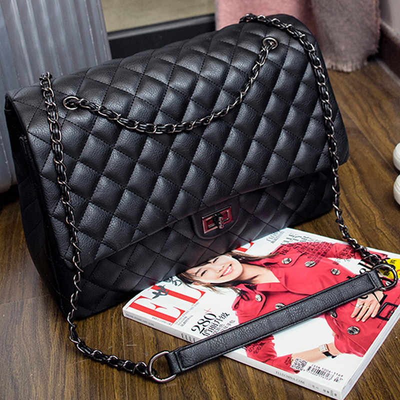 0e73206fc7 2018 Big Bag Travel Large 38 CM Women Shoulder Bags PU Diamond Lattice Hasp Luxury  Handbags