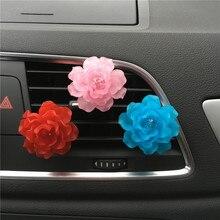 Colorido cor Homens e mulheres perfume do carro estilo Do Carro Ornamento Da Flor Camélia condicionador de ar do Automóvel perfume clipe