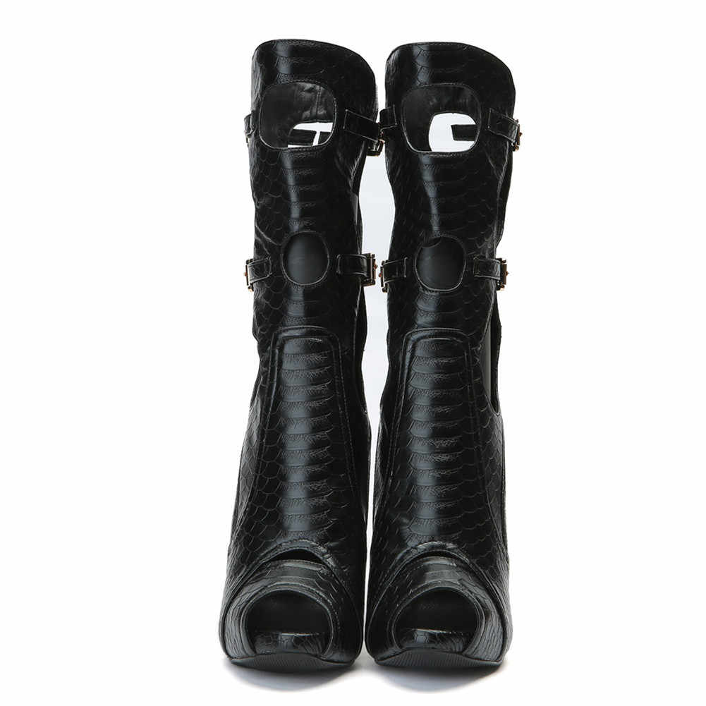 SARAIRIS/новые туфли на платформе с открытым носком на тонком высоком каблуке с ремешком и пряжкой женские повседневные пикантные весенне-летние ботинки, большие размеры 34-47
