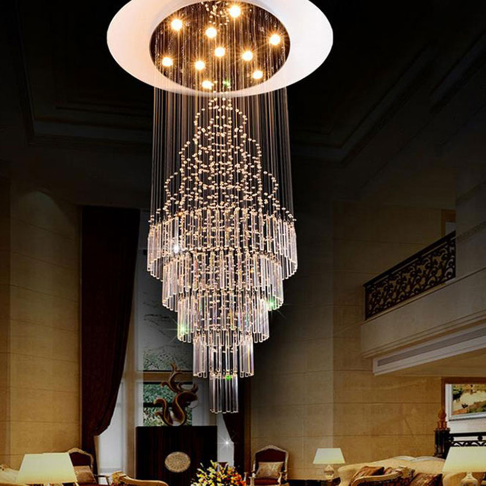 2017 New Luxury staircase long crystal chandelier art deco stairwel luster designer chandeliers big industrial project lighting