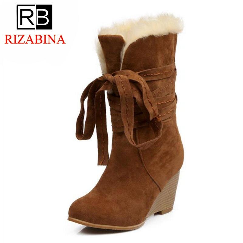 Botas negro De Sexy Las Piel Tamaño Señora Mujeres Oficina 34 43 Felpa Alta marrón Nieve Zapatos Beige Cuñas Calzado Rizabina Invierno nHXPwHx
