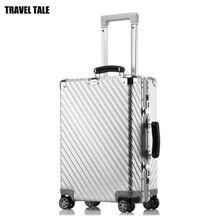 """REIZEN TALE 20 """"24"""" 29 """"inch luxe reizen koffer reizen trolly bag vintage aluminium bagage met wielen"""
