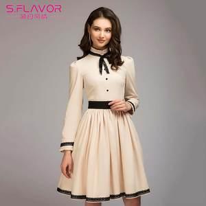 S.FLAVOR 2018 Autumn Women Lace Long Sleeve Party Dresses 174fab0fc