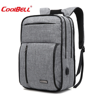 Coolbell For 15 Notebook Bag for Macbook 15.6 Laptop Backpack Stress Relief USB Charge Package Student Bag Casual Shoulder Bag