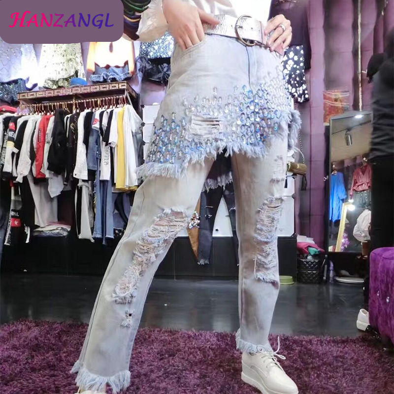 ФОТО  HANZANGL 2017 Fashion Irregular Denim Jeans Ripped Bleached Hole Washed Embroidered Flares Casual Women Trousers Fake 2 Pieces