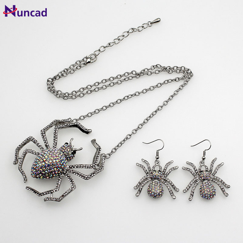 New Rhinestone Vintage Gothic Punk Ear Stud Earring Necklace Spider Ring Shiny Crystal Necklace For Party Halloween Gift