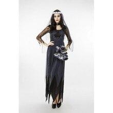 Wedding Dress Halloween Costume Bride Lace Long Sleeve Tulle Black Cosplay Dresses 2017