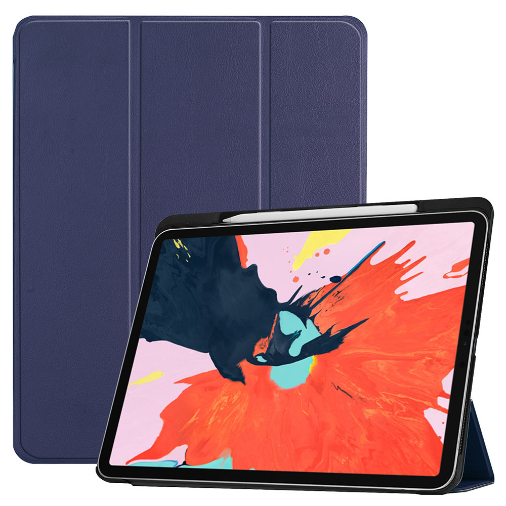 Case Cover With Pencil Slot Holder For Ipad Pro 12.9 2018 Tri-fold PU Leather Magnetic Sleep/Wake Tablet Cover Protec Shell