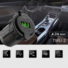 12V 24V Dual USB 5V 2.1A Car Charger Power Adapter LED Voltmeter For Truck Boa 10166 newest arrival dual usb motorcycle charger 12v 4 2a moto 2 1a 2 1a 12v to 5v 15w usb charger with voltmeter led display sockets