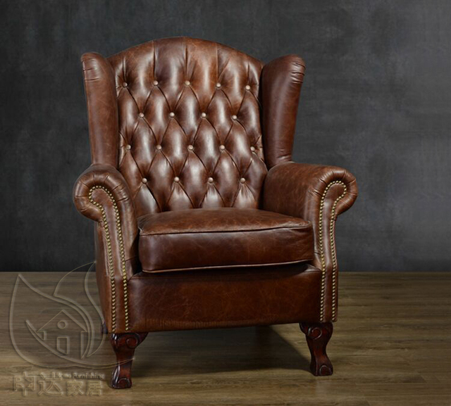 American Village Vintage Armchair Oil Wax Leather High Backed Sofa