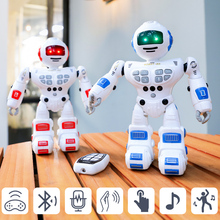 Bluetooth RC Toy Robots Remote Control Toys intelligent robotics dancing singing gesture sensing recording robot toys children new intelligent rc robot funny indoor outdoor game toys 2 4g dancing battle model toy multi function remote control robots