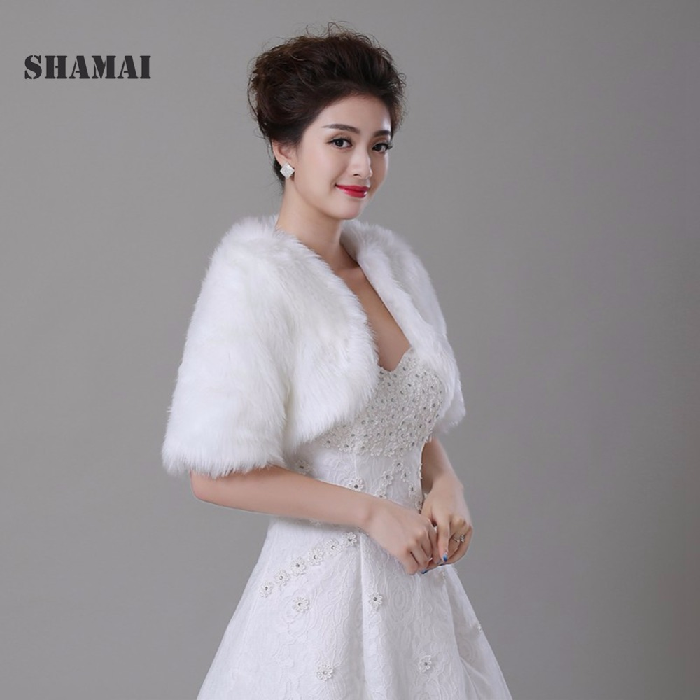Free Shipping Half Sleeve Women Winter Wedding Faux Fur Jacket Bolero Wraps Bridal Coat Shurg