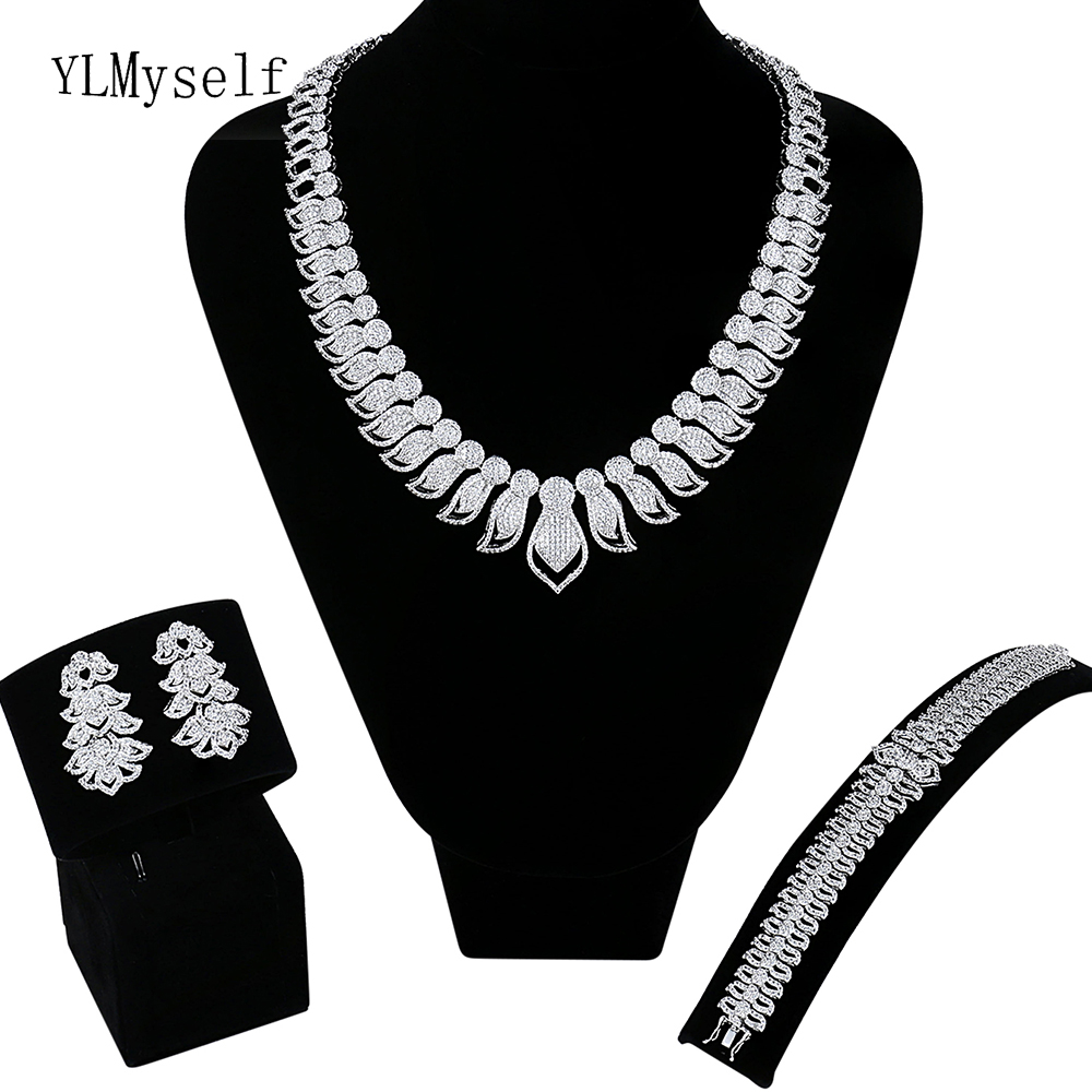 Big discount sale Necklace/Bracelet/earrings/Free gift ring Large jewelry set for bridal Wedding luxury 4pcs jewelry sets цена