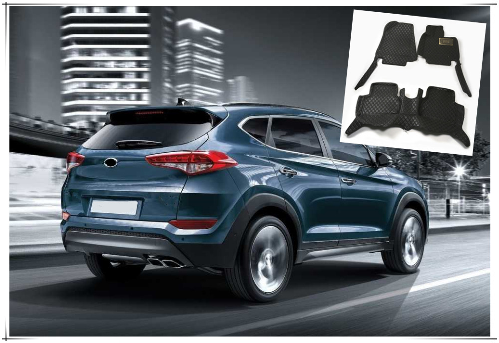For Hyundai Tucson 2016 2017 2018 Interior Leather Car Floor Carpets Foot Mats Pads 1set Car Styling accessories