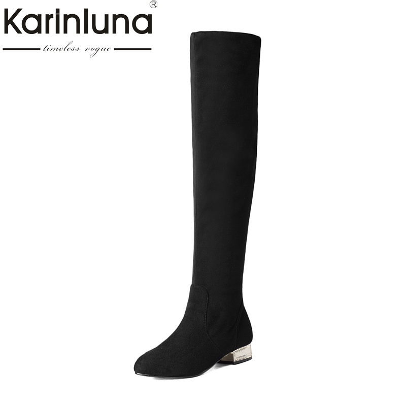KarinLuna Brand New Big Size 34-43 Women Boots Sexy Low Square Heels Slip On Woman Shoes Long Boots For Party