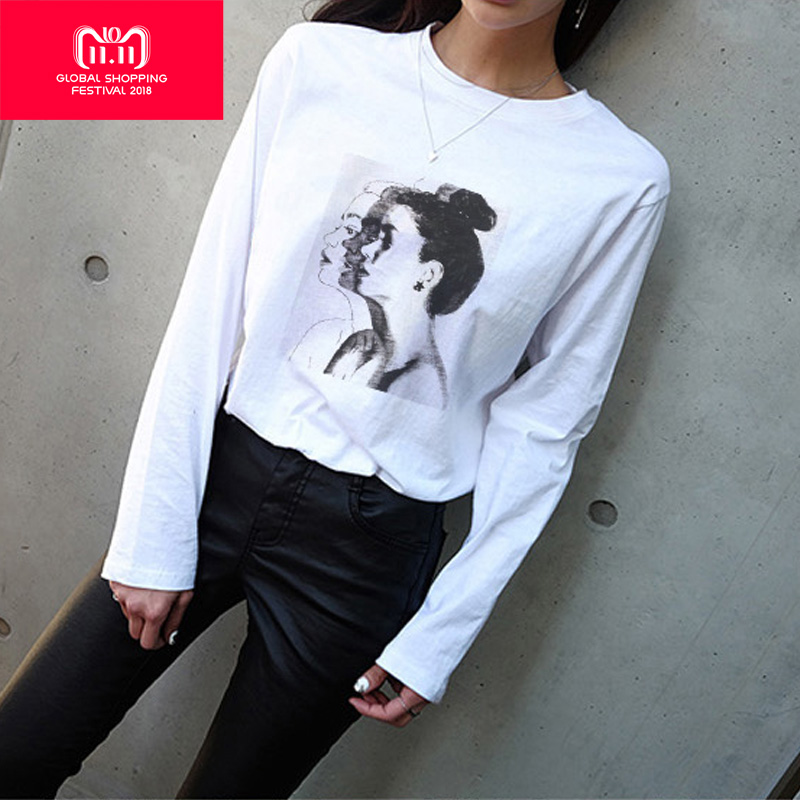 358d6edc74611 Syiwidii Plus Size Tshirt Long Sleeve Shirt Women Graphic Tees Women Soft  White Basic Tops 2018 Autumn Winter Womens Clothing