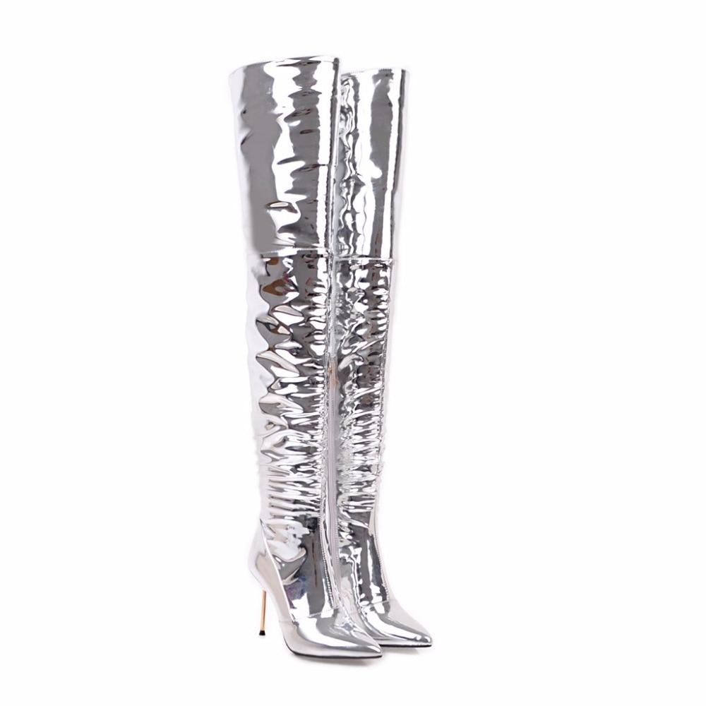 Arrivée Pu Femmes Bottes Bout 2018 Talons Grande Mince Pointu Zip the genou Chaussures Flock Nouvelle Femme Taille Argent Sexy Over Haute Super kPZXiuwOlT