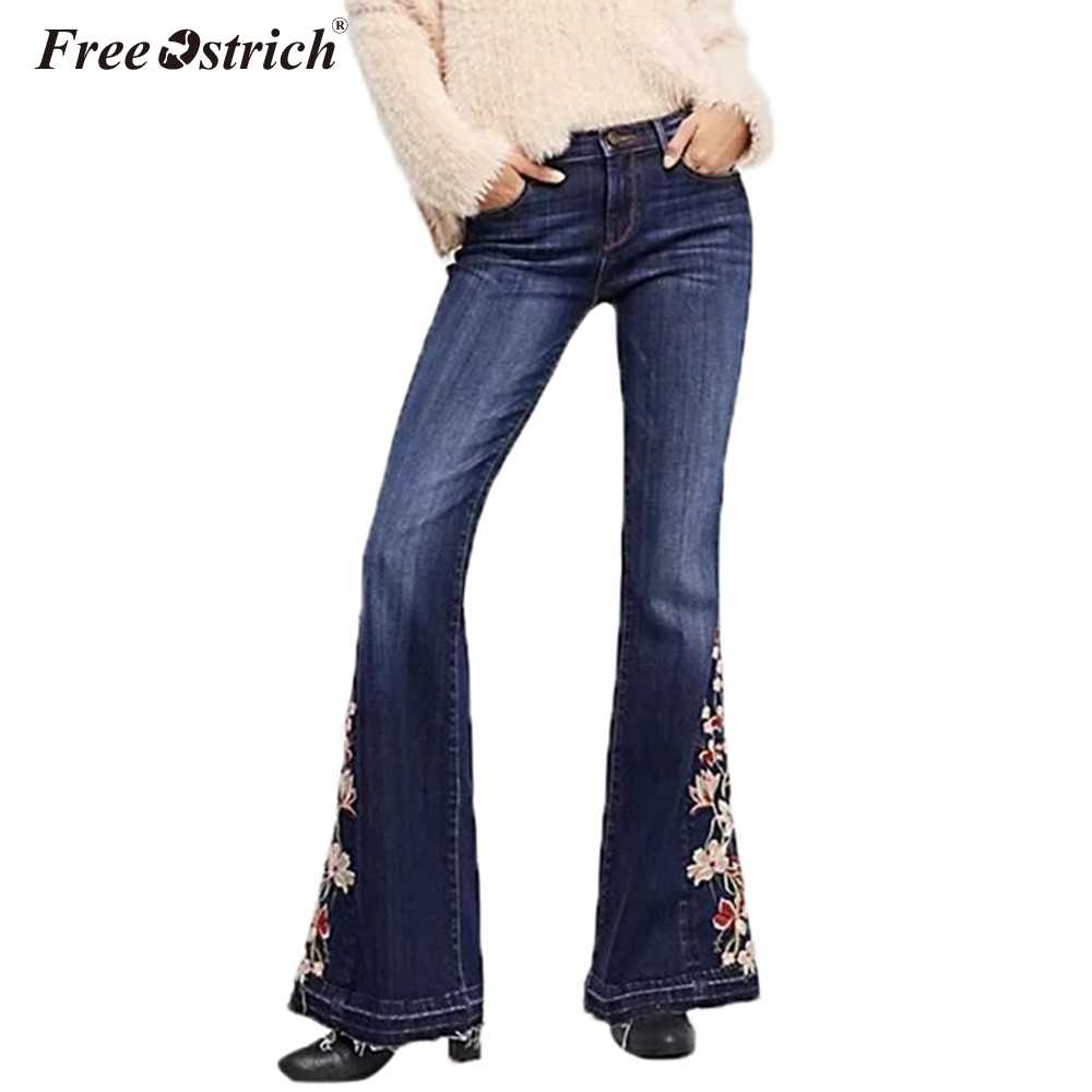 bbb28bb470 Free Ostrich Women Stretch High Waist Embroidery Jeans Woman Floral Denim  Pants Trousers Women Jeans Flare
