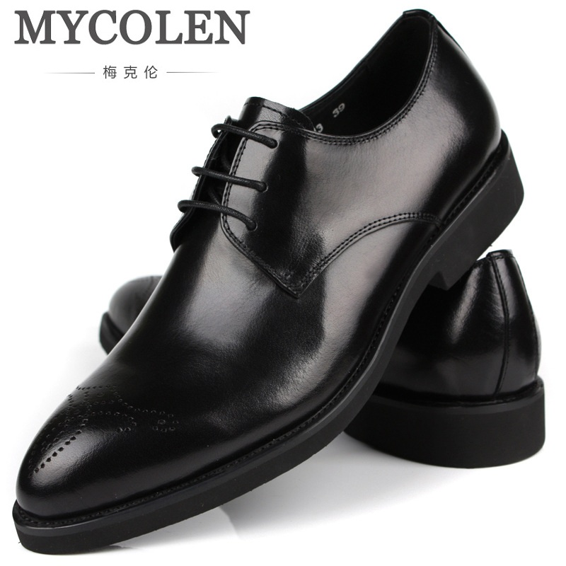 MYCOLEN British Style Brogue Men Formal Shoe Pointed Toe Lace Up Leather Dress Business Shoes Flats Breathable Shoes For Men cbjsho british style brogue shoes men s lace up casual leather men dress shoes flat solid color fashion bullock shoes man