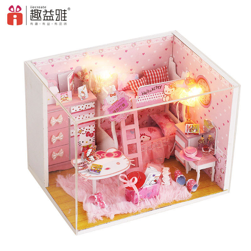 Cartoon Pink Girl Room DIY Dollhouse Educational 3D Wooden Doll House LED+Furniture+Cover For Children Lover Gift Birthday Toys