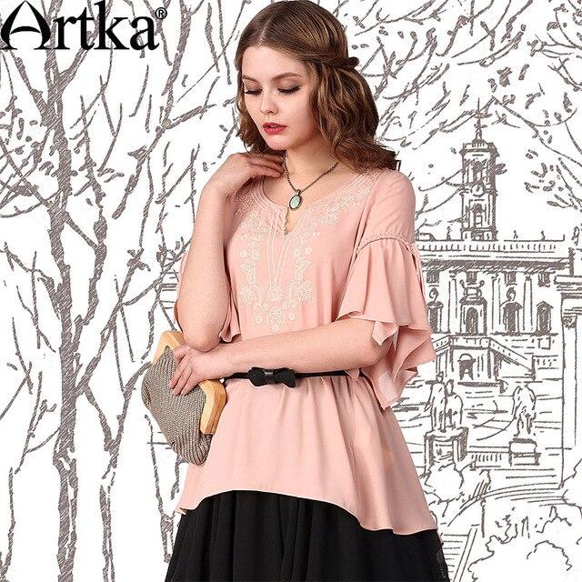 Artka Women'S Fashion Style Suman Embroidered Loose O-Neck Dovetail Summer Lotuspetal Half Sleeves Chiffon Shirt  SA10949X