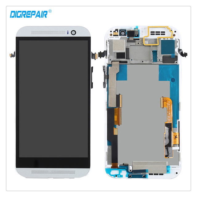 A+ White For HTC One M8 LCD Display Touch Screen Digitizer Full Assembly Repair Replacement Parts With Bezel Frame Free shipping