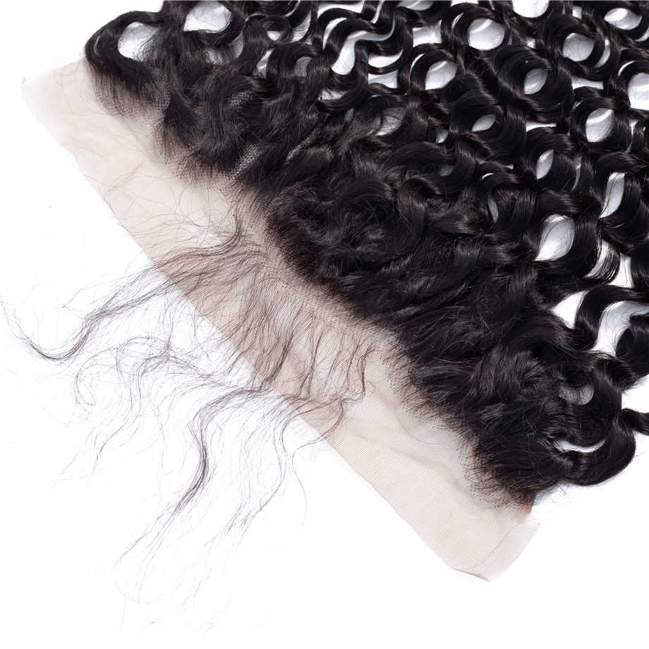 Волна воды Hd Кружева Фронтальная Cloausre 13x4 швейцарское кружево бразильские Remy человеческие волосы уха до уха Кружева Фронтальная Закрытие 8-22 дюймов по волосам