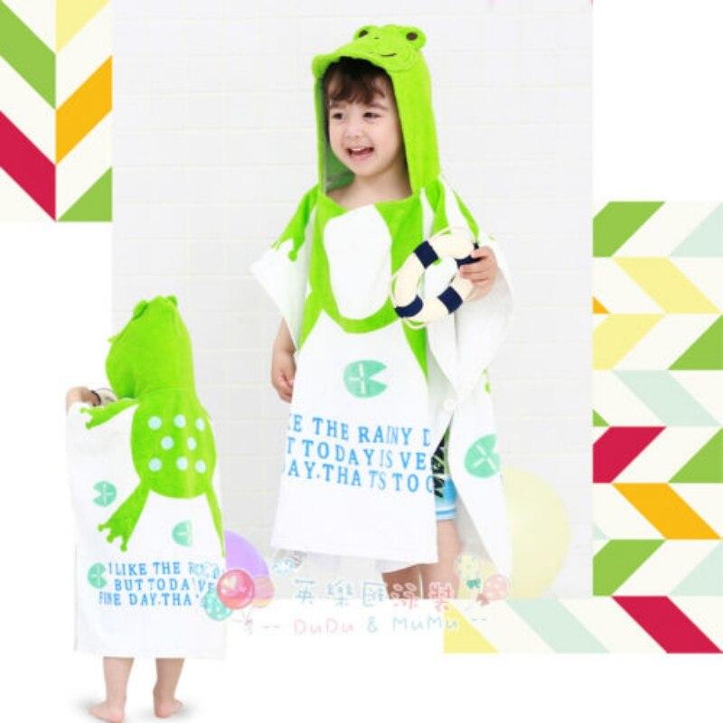 Unisex Cute Bath Towel Kid Child Baby Hooded Animal Print Swim Beach Bath Towel Wear Bathrobe Cotton