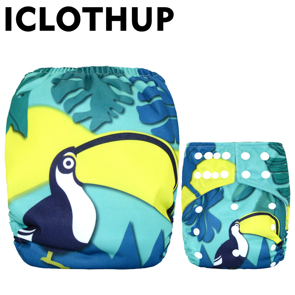 ICLOTHUP Digital Prints Big Suede Cloth Pocket Diaper,with One Front Pocket,waterproof And Breathable,for 2year Up Baby