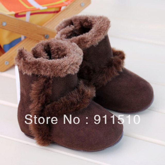 Wholesale 6pcs/lot Brown Warm baby boot firstwalker Cotton toddler shoes sneakers shoes FREE SHIPPING