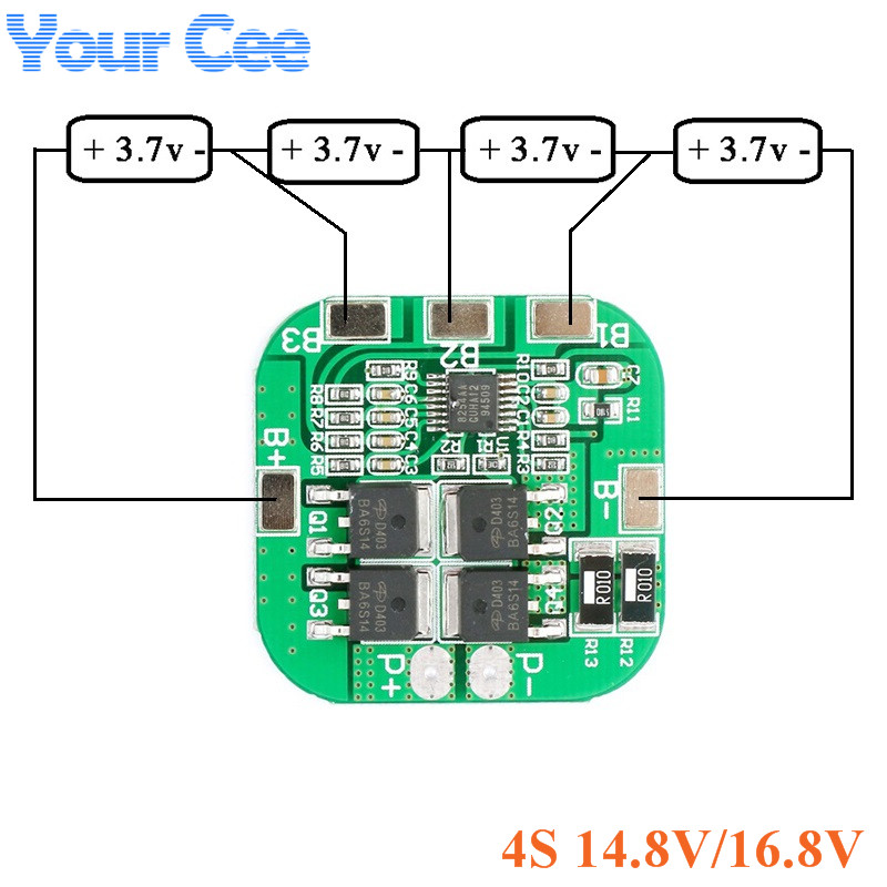 <font><b>4S</b></font> 14.8V 16.8V Protection Board Li-ion Lithium Battery <font><b>18650</b></font> Charger PCB BMS PCM Charging Board 10A image