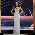 Miss universo 2015 vestidos Longo Vestido De noite De luxo cristal frisado decote em V sem costas Vestido De Festa Longo Custom Made