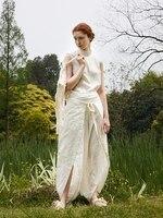 IRINAY131 2019 SS Collection original design unique asymmetrical wide leg cotton linen pants women