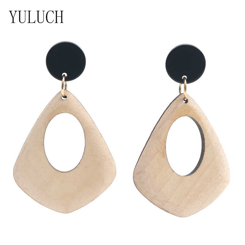YULUCH 2018 Women Retro Fashion Geometric Exaggeration Wooden Circles Accessories Irregular Wood Earrings