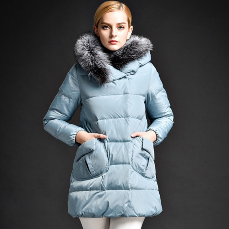 2016 New Korean Large Size Jacket Fox Fur Collar Hooded A version Women Duck Down Jackets Winter Coat Long Warm Parkas L0034 2015 new hot thicken warm cold woman down jacket coat parkas outerwear hooded fox fur collar long plus size 3xxxl luxury brand