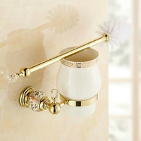 polished gold toilet brush holder wall mounted crystal toliet brush bathroom accessories