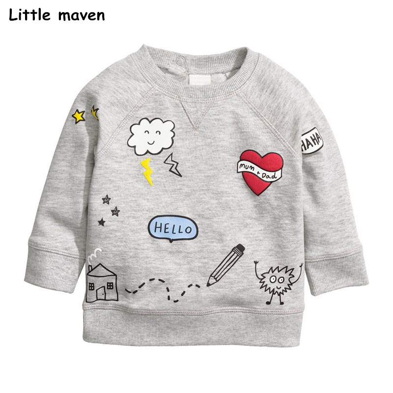 Little maven children brand 2017 autumn new boys girls cotton long sleeve tops O-neck white cloud house print t shirts C0065