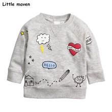 Kis maven gyermekek márka 2017 őszi új fiúk lányok pamut hosszú ujjú felső O-nyakú fehér felhő ház nyomtatott pólók C0065