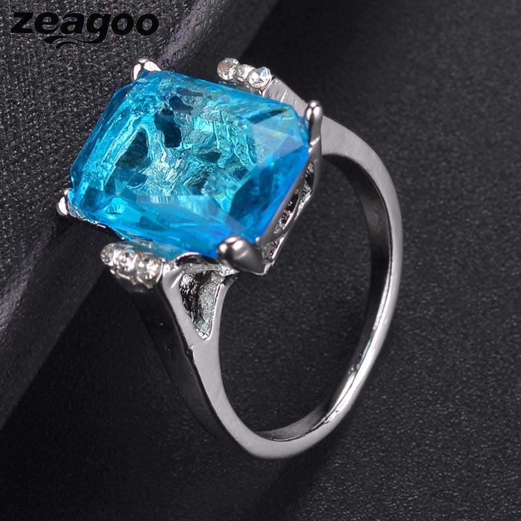 Engagement Elegant Artificial Square Sky Blue Topaz Women Wedding Ring Jewelry & Accessories