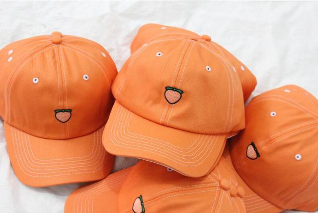 35370c41 Peach Emoji Dad Hat Baseball Cap for man women Embroidered orange peach Dad  Hat unisex Vegan Hat Food snapback sun Hats Trends