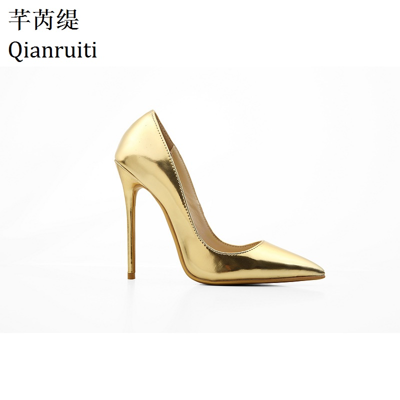 Qianruiti Nude Gold Pink Patent Leather Women Pumps Sexy Pointed Toe High Heels Shoes 12CM Stilettos Heels Women Wedding Shoes window beach wave print fabric bathroom shower curtain