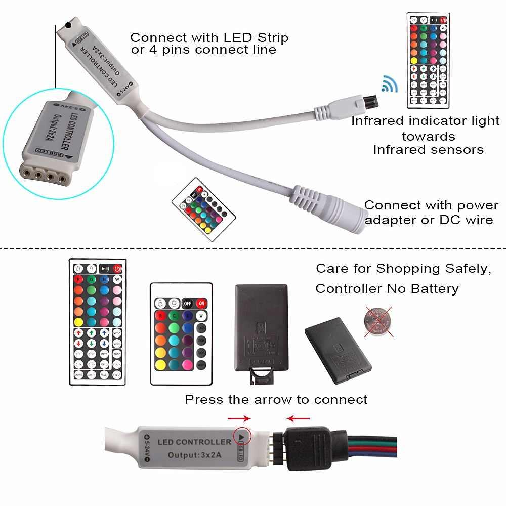 10 м RGB светодиодные полосы света 5050 SMD 2835 Гибкая fita Светодиодная лента Водонепроницаемый ИК-пульт дистанционного управления 12 в набор адаптеров питания