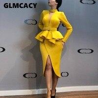 Women Long Sleeve Mid Calf Falbala Asymmetrical Standard Waist Dress Office Lady Sheath Solid Knee Length O Neck Dress