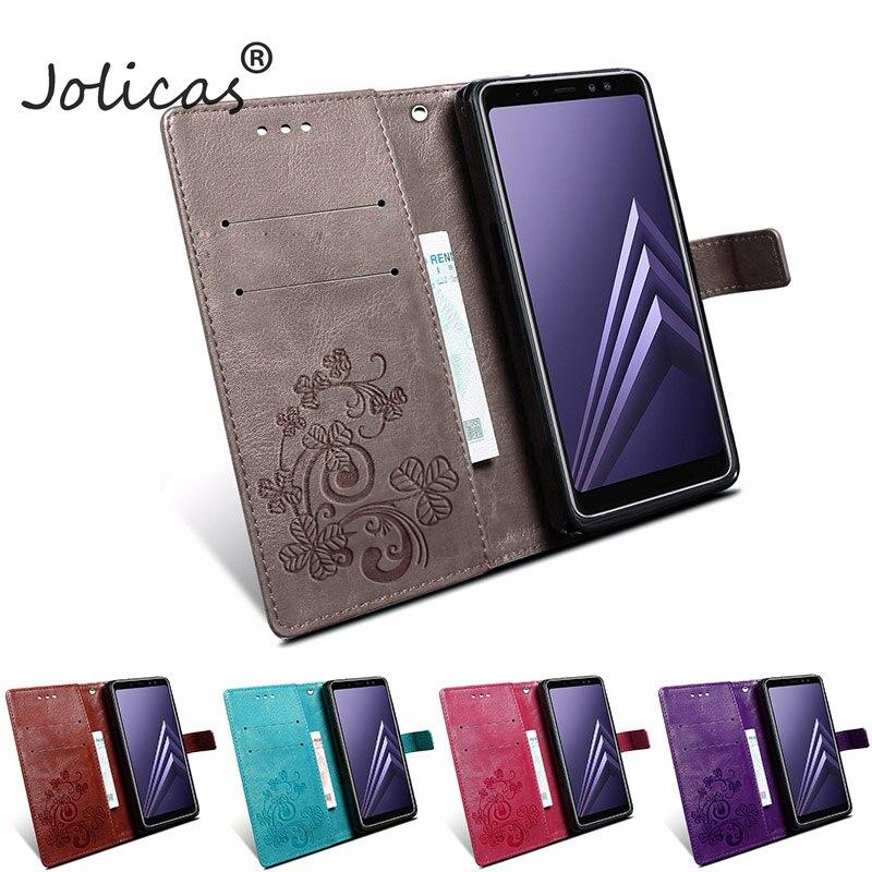 Case For Samsung Galaxy A8 2018 Case Plus Four Leaf Clover Leather Wallet Case For Samsung Galaxy A8 Plus 2018 Cover samsjng