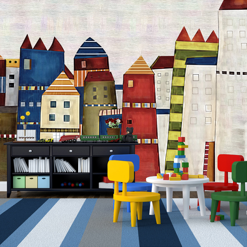 Custom Mural Wallpaper Mediterranean Painted 3D Cartoon Castle Children's Room Bedroom Restaurant Non-woven Background Wallpaper