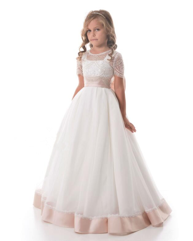 Puffy New kids prom party pageant dress for junior short sleeves sheer beaded flower girl dresses perform gown with big bow цены онлайн