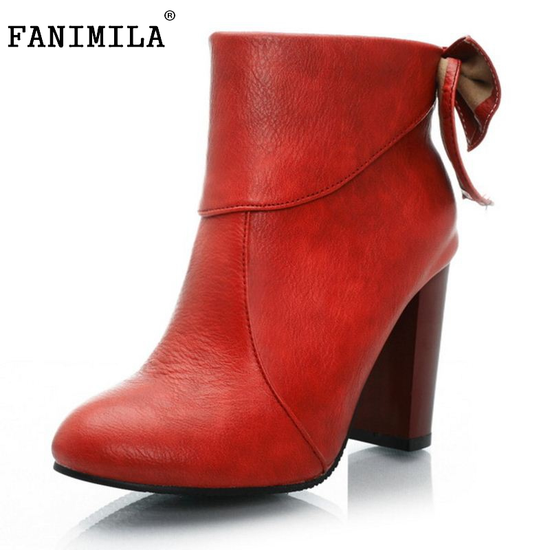 FANIMILA Brand Autumn And Spring Women Boots Women Mid Calf Botas Bowknot Shoes Artificial High Heel Platform Shoes Size 34-43 double buckle cross straps mid calf boots