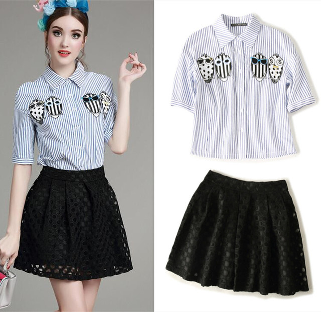 d19ee8e1166a Women's Skirts Suits Cute Owl Embroidery Cotton Shirts Blue And White  Stripped Shirt And Hollow Out