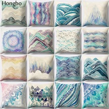 Hongbo 1 Pcs Tide Wood Forest Tree Mountain River Hills Winter Snow Top Floral Fresh Pattern Prints Cushion Cover Sofa Pillow